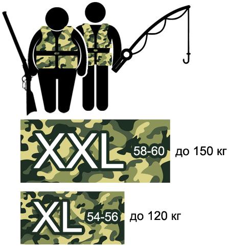 Жилеты страховочные «камуфляж» больших размеров XL, XXL