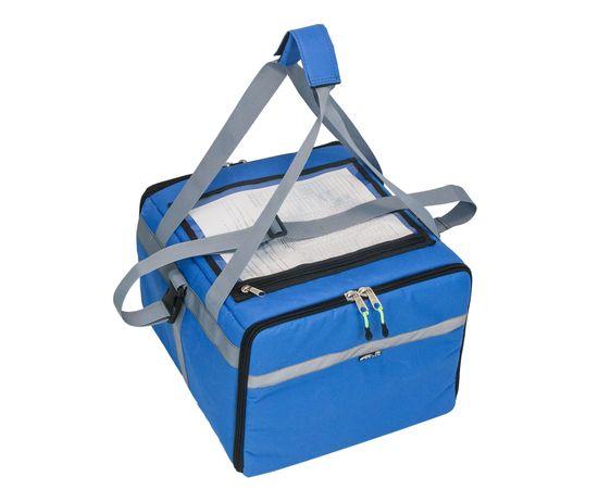 Термосумка 30 л (35х35х25 см)  COURSE для доставки еды с боковым входом, общий вид, синий цвет