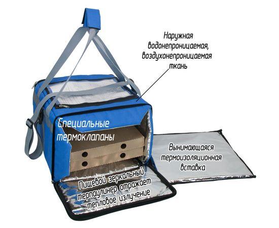 Термосумка 30 л (35х35х25 см)  COURSE для доставки еды, вид с открытым боковым входом
