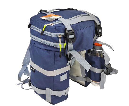 Велорюкзак на багажник (велоштаны) 22-30 литров, цвет синий - вид сзади