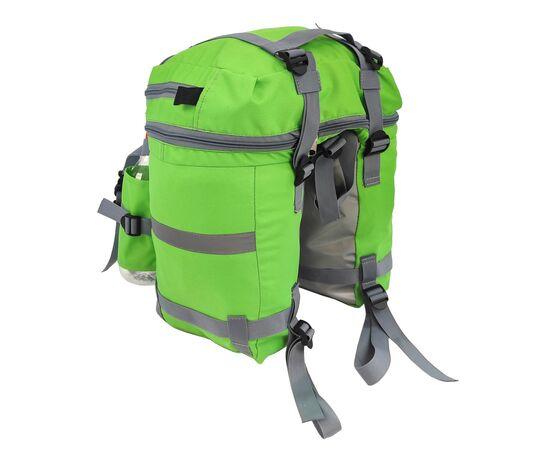 Велорюкзак на багажник (велоштаны) 22-30 литров, цвет зеленый - вид спереди