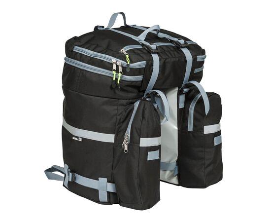 Велорюкзак на багажник (велоштаны) 35-50 литров, вид сзади (в сложенном виде - 35 литров)