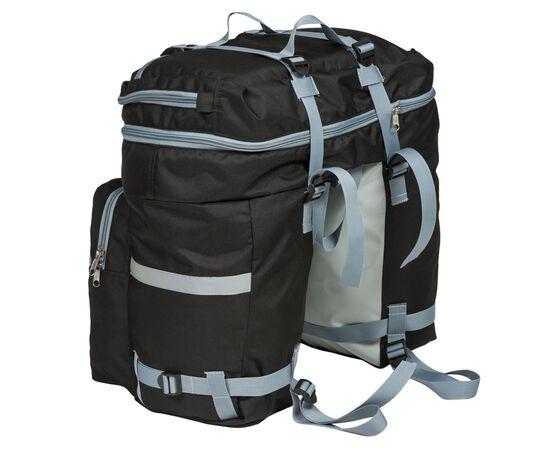 Велорюкзак на багажник (велоштаны) 35-50 литров, вид спереди (в сложенном виде - 35 литров)