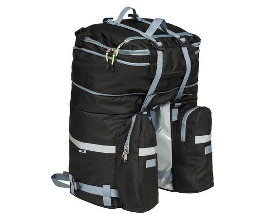 Велорюкзак на багажник (велоштаны) 35-50 литров, вид сзади (с увеличением объема до 50 литров)