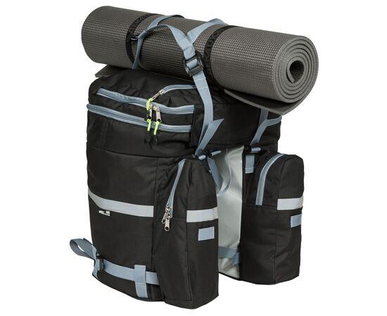 Велорюкзак на багажник (велоштаны) 35-50 литров, с ковриком сверху (в сложенном виде - 35 литров)