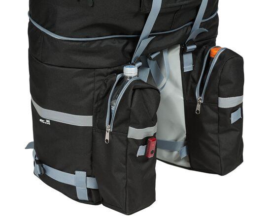 Велорюкзак на багажник (велоштаны) 35-50 литров: петля для заднего фонаря и 2 карамана для бутылок или вещей