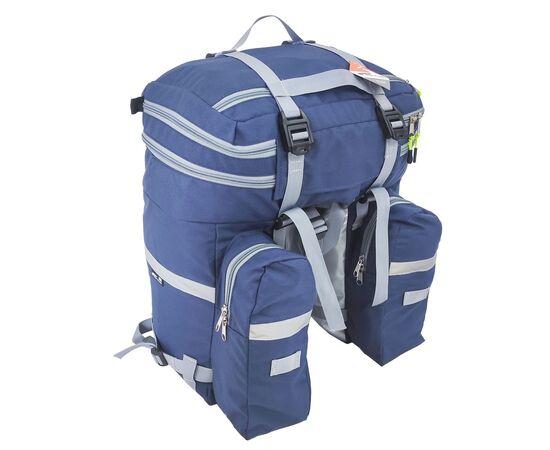 Велорюкзак на багажник (велоштаны) 35-50 литров, вид сзади (синий цвет)
