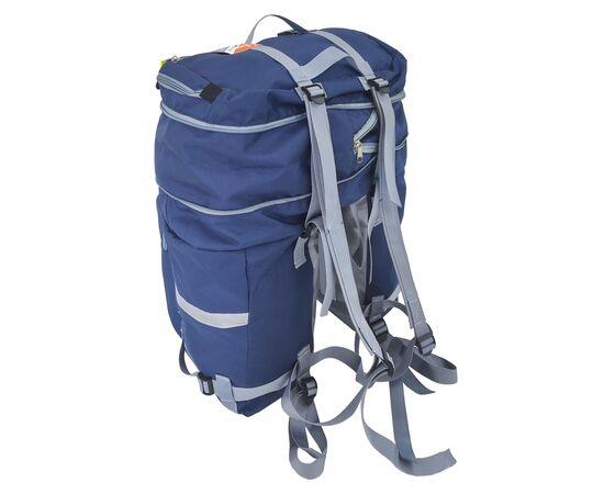 Велорюкзак на багажник (велоштаны) 35-50 литров, с рюкзачными лямками (синий цвет)