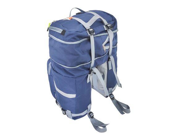 Велорюкзак на багажник (велоштаны) 35-50 литров, вид спереди (синий цвет)