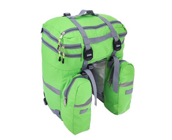 Велорюкзак на багажник (велоштаны) 35-50 литров, вид сзади (зеленый цвет)