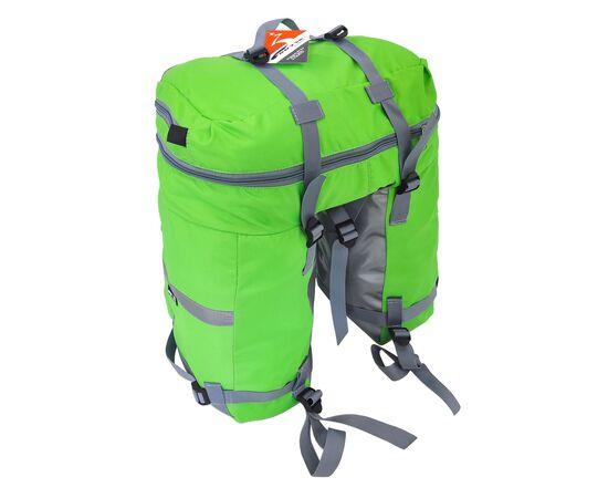 Велорюкзак на багажник (велоштаны) 35-50 литров, вид спереди (зеленый цвет)