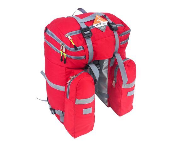 Велорюкзак на багажник (велоштаны) 35-50 литров, вид сзади (красный цвет)