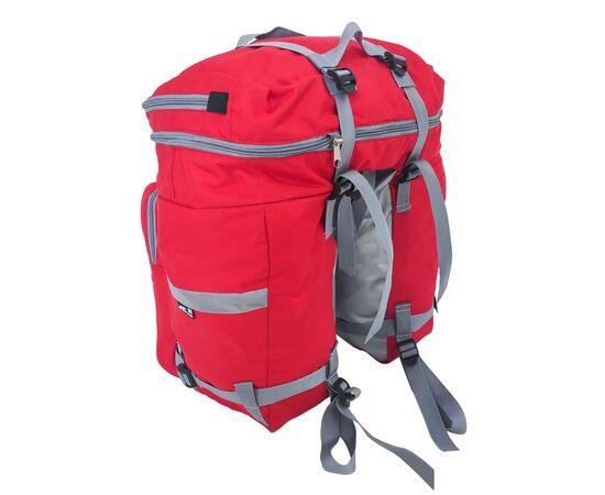 Велорюкзак на багажник (велоштаны) 35-50 литров, вид спереди (красный цвет)