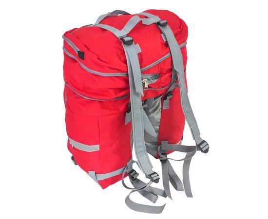 Велорюкзак на багажник (велоштаны) 35-50 литров, с рюкзачными лямками (красный цвет)