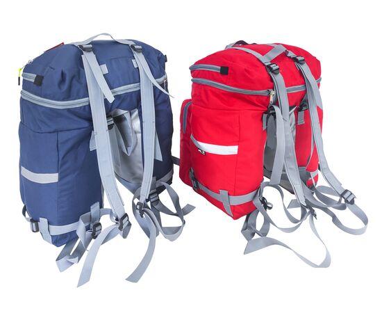 Велорюкзаки на багажник (велоштаны) 35-50 литров, вид спереди (синий и красный цвет)