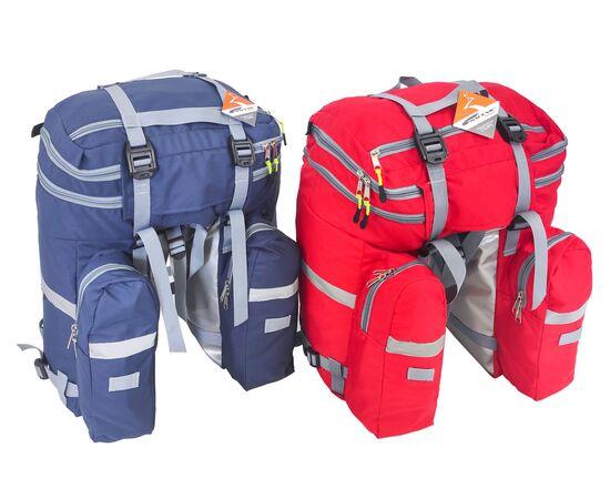 Велорюкзаки на багажник (велоштаны) 35-50 литров, вид сзади (синий и красный цвет)
