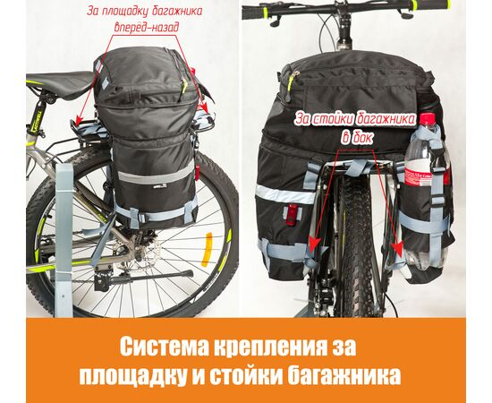 Система крепления велорюкзака (велоштанов) за багажник велосипеда