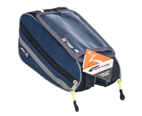 Велосумка «Твин» на раму с чехлом для телефона, синий цвет