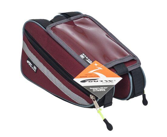 Велосумка «Твин» на раму с чехлом для телефона, бордовый цвет